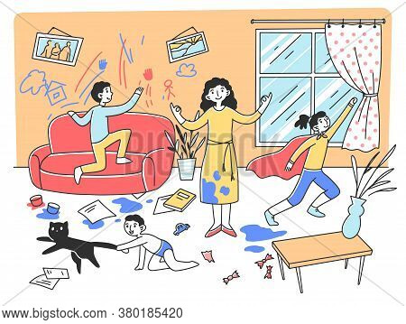 Calm Mother Meditating In Chaos Flat Illustration. Mischievous And Naughty Children Playing And Dest
