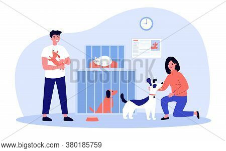 People Adopting Pets From Shelter. Volunteers Taking Care About Cats And Dogs In Cages. Vector Illus