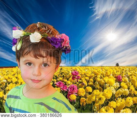 Cirrus clouds fly in the blue sky. Cloudy day in May. Adorable yellow garden buttercups - ranunculus bloom on a farm field. Concept of ecological tourism