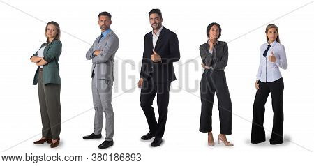 Successful Business Team. Full Length Portrait Of Group Of Confident Business People Showing Thumbs