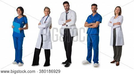 Collection Of Full Length Portraits Of Medical Doctors. Design Element, Studio Isolated On White Bac