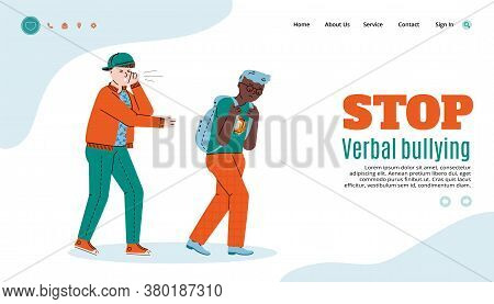 Stop Verbal Bullying Webpage Template With People Cartoon Characters, Flat Vector Illustration On Wh