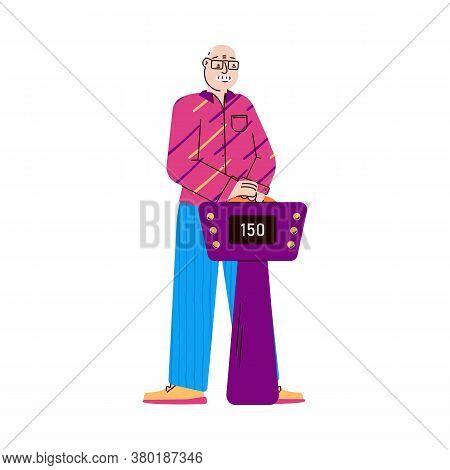Elderly Man Cartoon Character Taking Part In Shooting Of Tv Quiz Show Game, Flat Vector Illustration