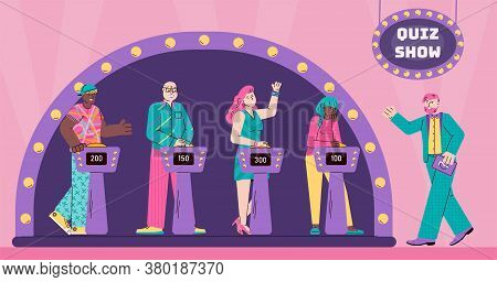 People Cartoon Characters On Quiz Game Show. Program Presenter And Players Of Television Quiz Show S