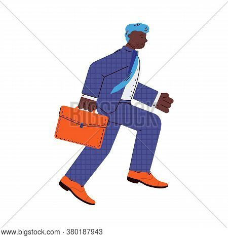 Cartoon Character Of Businessman Rushing On Business, Flat Vector Illustration Isolated On White Bac