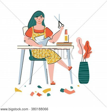 Woman Cutting Paper With Scissors For Origami Art - Cartoon Artist With Creative Hobby Sitting At Cr