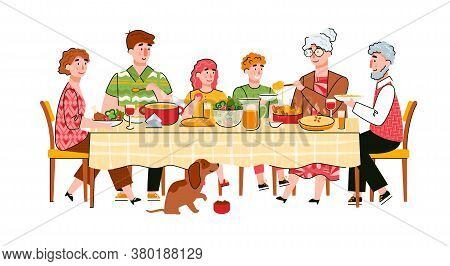 Family Joint Dinner Or Celebration Of Family Event Scene With Cartoon Characters Of Adults And Child
