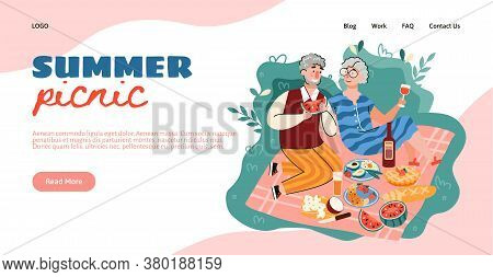 Old Couple On Summer Picnic - Website Banner With Cartoon Senior People Eating Delicious Food On Pic