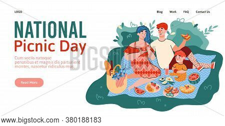 National Picnic Day Website Banner Template With Couple Having A Picnic In Park, Flat Cartoon Vector