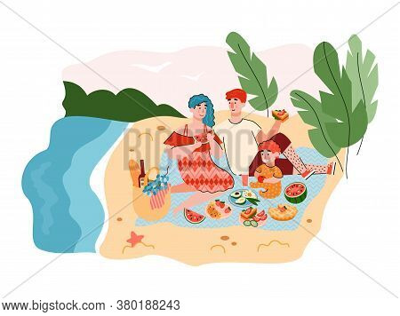 Summer Family Picnic Background With Resting Adults And Child, Flat Cartoon Vector Illustration. Nat