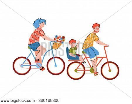 Family Joint Bicycle Ride Or Bike Trip Scene With Parents And Child Characters Riding Bicycle Togeth