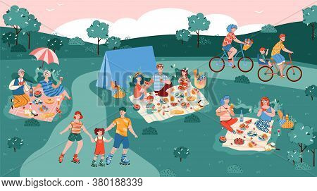 Summer Park Background With Resting People Having A Picnic And Sport Activity, Flat Cartoon Vector I