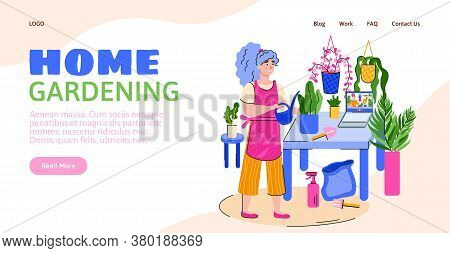 Web Site Template For Home Gardening With Cartoon Character Of Woman Caring For Houseplants, Flat Ve