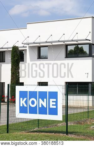 Saint Priest, France - May 16, 2020: Kone Founded In 1910 In Finland, Is An International Engineerin