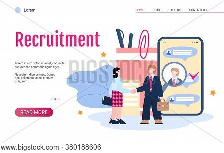 Web Banner For Hr Recruitment Agency With Employer Welcoming New Employee, Flat Vector Illustration