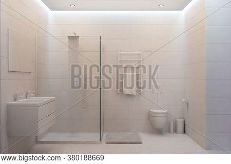 3d Illustration Of White Modern Shower Room