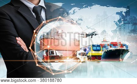 Businessman Holding Digital Globe In Palm For Logistics Import Export Background And Container Cargo