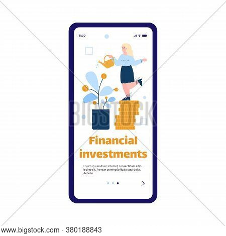 Financial Investments And Funding Business Concept For Mobile Application With Businesswoman Growing