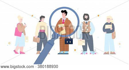 Human Resource Management And Searching Efficient Staff Concept With Cartoon Characters Of Job Candi