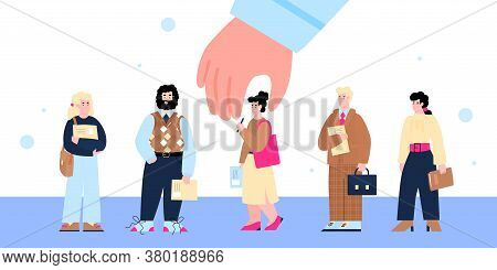 Recruitment And Employment Concept With Huge Hand Choosing The Best Candidate From The Row Of People
