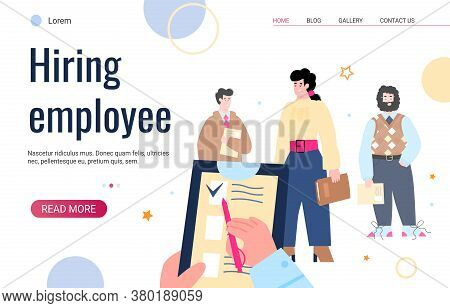 Hiring Employee Website Page Template With Cartoon Characters Of Job Candidates Visiting Recruitment