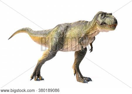 Tyrannosaurus Rex Dinosaurs Toy Green Isolated On White Background. Closeup Dinosaur And Monster Mod