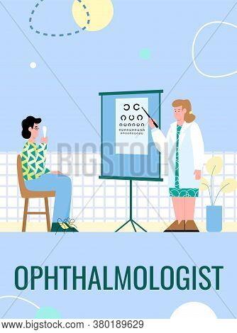 The Patient Is Examined By An Ophthalmologist. A Man With Glasses Checks His Vision In A Medical Off