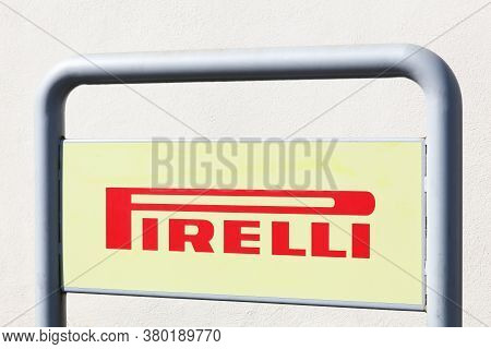 Creches, France - March 15, 2020: Pirelli Logo On A Panel. Pirelli Is A Multinational Company Based