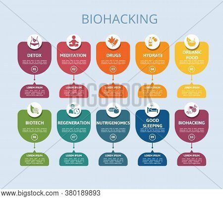 Infographic Biohacking Template. Icons In Different Colors. Include Detox, Meditation, Drugs, Hydrat