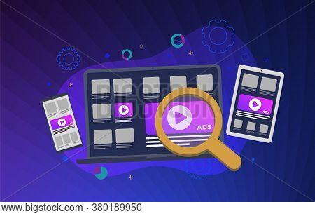 Programmatic Advertising Business Concept Illustration. Native Cross Targeting Online Ad Marketing S