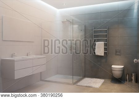 3d Rendered Interior Of Shower Room Turns Into A Real One