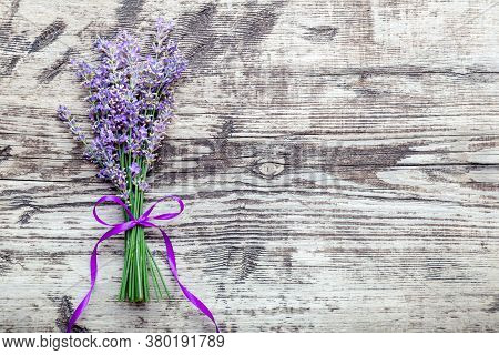 Fresh Lavender Flowers Bouquet On Old Rustic Wooden Table. Flatlay Purple Herbal Flower Blossom. Bou