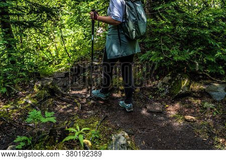 Dombay, Russia 26 July 2020: Group Of People Go Hiking In Wooded And Hilly Area. Rear View Of Woman