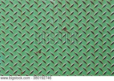 Green Vintage Old Diamond Plate Metal Warehouse Shop Step Suitable For Website Marketing Background