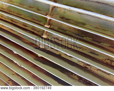 Green Rusty Military Tank Engine Radiator Diagonal View Suitable For Website Marketing Background Ba