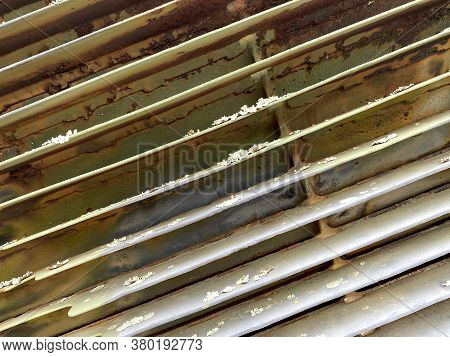 Old Corroding Green Rusty Military Tank Engine Radiator Suitable For Website Marketing Background Ba