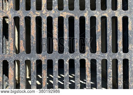 Rusty Old Vintage Retro Storm Drain Cover Lid Shadows Suitable For Website Marketing Background Back