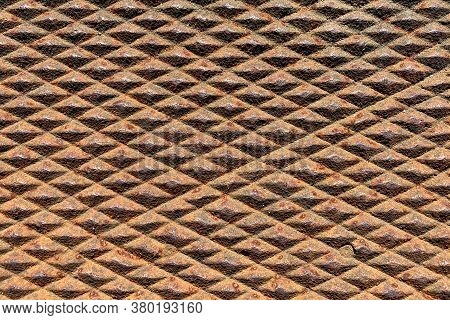 Rusty Rusted Vintage Old Diamond Plate Deep Texture Metal Suitable For Website Background Marketing