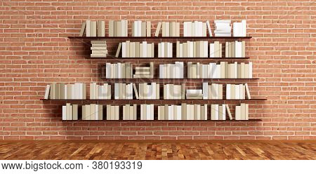 Multiple Book Shelves With Brown Colored Books On Brickwall In Room With Wooden Floor, Literature, B