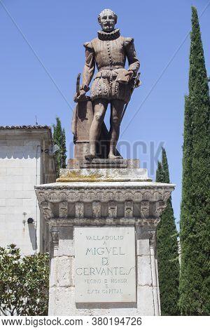 Valladolid, Spain - July 18th, 2020: Miguel De Cervantes Writer Monument, Made Nicolas Fernandez De