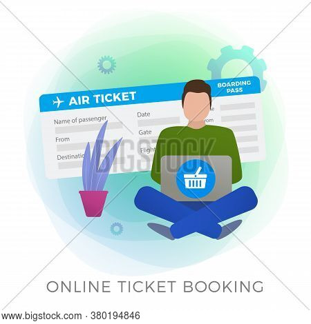 Flight Ticket Online Booking Flat Vector Icon. Man Makes His Journey Reservations  With Mobile App O