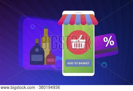 Alcohol E-commerce Flat Vector Concept Illustration. Online Purchase Of Alcohol: Vodka, Whiskey, Win