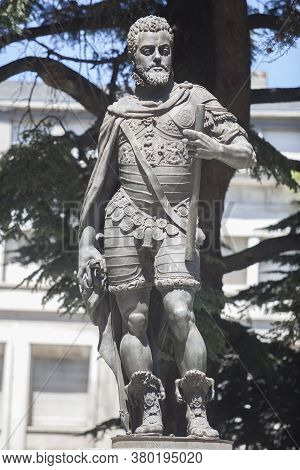 Valladolid, Spain - July 18th, 2020: Philip Ii Of Spain Statue, Sculpted By Francisco Coullaut In 19