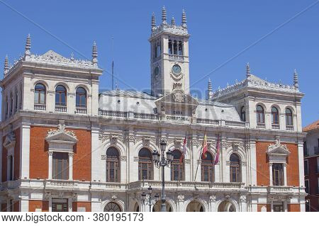 Valladolid, Spain - July 18th, 2020: Main Square Or Plaza Mayor Of Valladolid, Spain. Emblematic Loc
