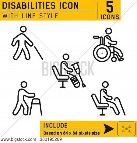 People Disabilities Vector Icon. People Disabilities Vector Icon With Line Style. Vector Icon For We