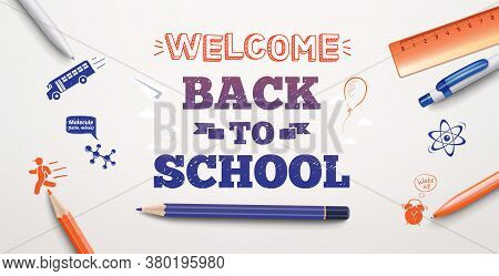 Welcome Back To School Text Drawing In White Background With School Items And Elements. Vector Illus