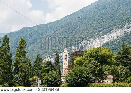 Tower of Church of San Lorenzo in Tremezzo. Chiesa di San Lorenzo, Lake Como, Italy, Europe.