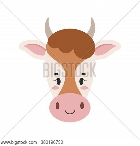 Cute Farm Cow Face With Ears And Horns Icon Isolated On White Background. Milk Dairy Farm Product De