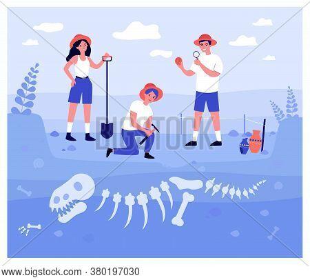 Happy Archeologists Digging Dinosaur Bones In Soil Layers Isolated Flat Vector Illustration. Cartoon