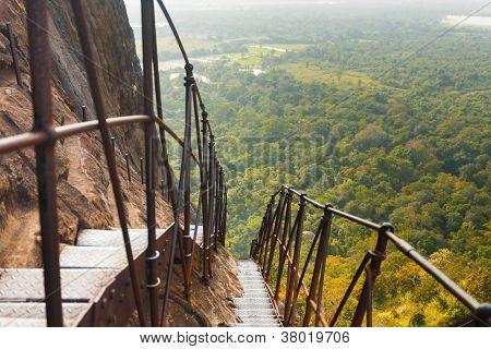 Sigiriya Rock Steep Metal Stairs Landscape Below